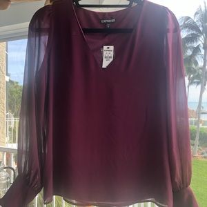 Express burgendy blouse w/ see through sleeves XS